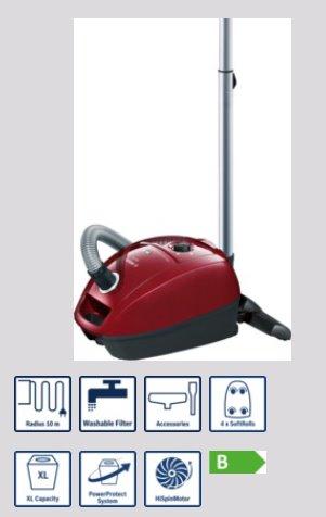 BOSCH_750 W, energetická trieda B, trieda účinnosti: koberce D, tvrdé podlahy D, prachové emisie B, PowerProtect systém,