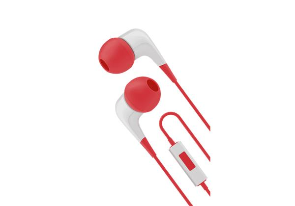 Cygnett 2xS slúchadlá do uší s mikrofónom, pre smartfóny, bielo / červené