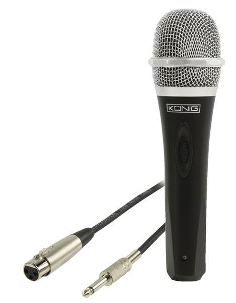 König Jednosmerný dynamický mikrofón, kov, čierny