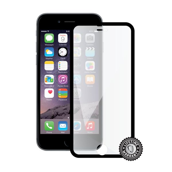ScreenShield Apple iPhone 6/6STempered Glass protection display (full COVER BLACK metalic frame)