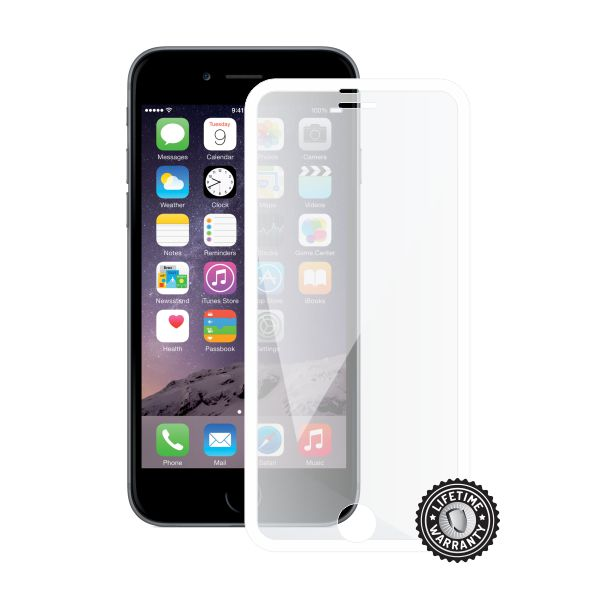 ScreenShield Apple iPhone 6/6S Tempered Glass protection display (full COVER WHITE metalic frame)