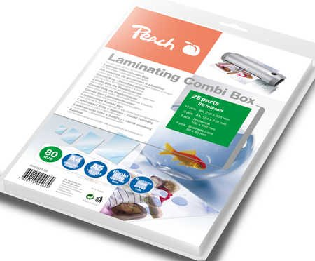 Peach Laminating Combi Box PPC500-02 - 10xA4 80 mic - 5xA5 80mic - 5xPhotosize 80mic - 5xBusiness card 80mic