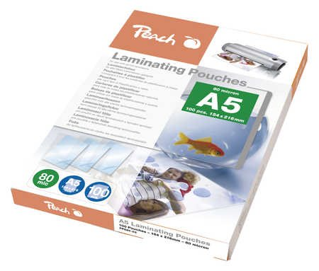 Peach Laminating Pouch A5 (154x216mm), 80mic, PP580-03
