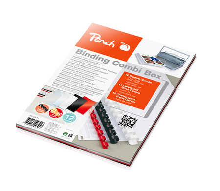 Peach Binding Combi Box PB100-14 - 12 Bindig combs - 2 pcs 6mm red, black, white - 2pcs 8mm, red, black, white