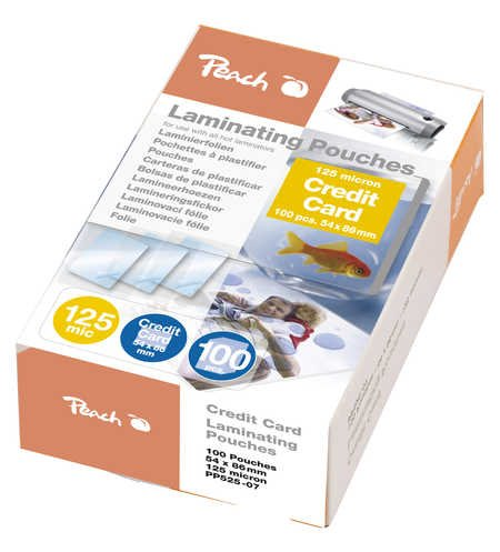 Peach Laminating Pouch Credit Card (54x86mm), 125mic