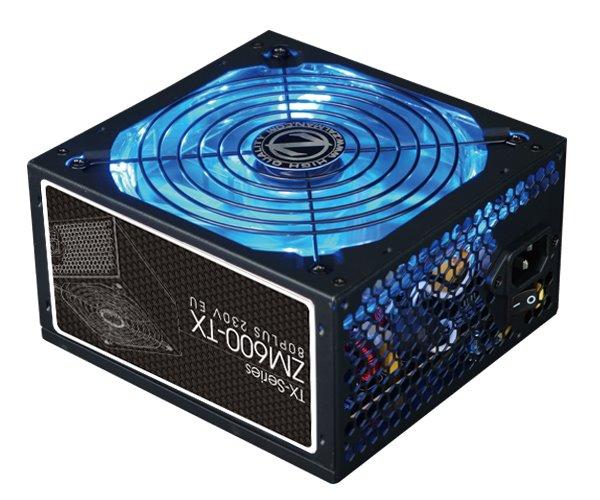 ZALMAN ZM600-TX, zdroj, 600W, eff. 86% 80Plus, ATX12V, aktívne PFC, 140mm blue led ventilátor