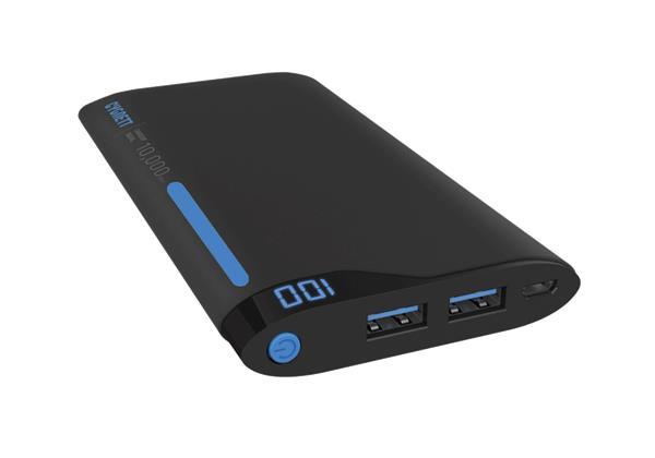 Cygnett ChargeUp Polymer Digital Powerbank 10.000mAh, dual USB/2.1A, pre smartfóny a tablety, čierno-modrá