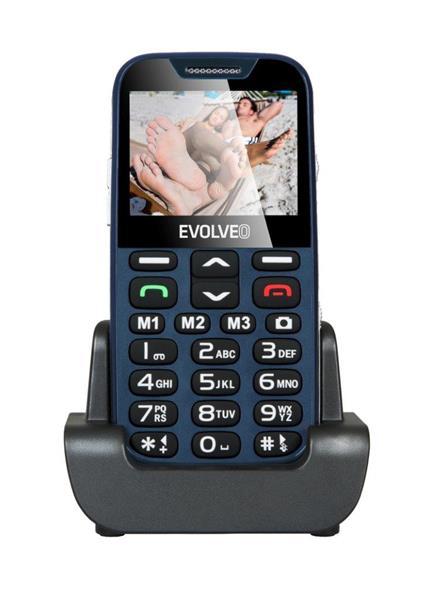 EVOLVEO EasyPhone XDL. Modrý mobilný telefón pre seniórov s nabíjacím stojanom