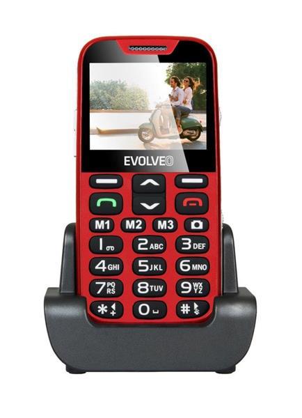 EVOLVEO EasyPhone XDR. Červený mobilný telefón pre seniórov s nabíjacím stojanom