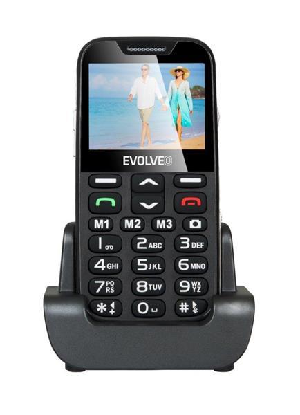 EVOLVEO EasyPhone XDB. Čierny mobilný telefón pre seniórov s nabíjacím stojanom
