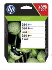 HP HP 364 CMYK Ink Cartridge Combo 4-Pack, N9J73AE /náhrada za J3M82AE/