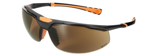 Okuliare Univet 5X3, čierno-oranžový rám, hnedé sklá s povrchovou vrstvou proti poškriabaniu a zahmlievaniu, UV400