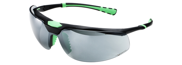 Okuliare Univet 5X3, čierno-zelený rám, dymové sklá s povrchovou vrstvou proti poškriabaniu a zahmlievaniu, UV400