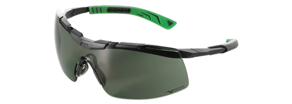 Okuliare Univet 5X6, čierno-zelený rám, zelené sklá s povrchovou vrstvou proti poškriabaniu a zahmlievaniu, UV400, na šo