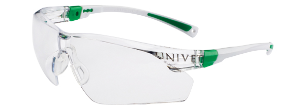 Okuliare Univet 506UP, bielo-zelený rám, číre sklá s povrchovou vrstvou proti poškriabaniu a zahmlievaniu, nastav. bočn.