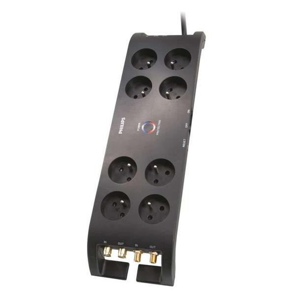 Philips F8 prepäťová ochrana 3m, 3600J, 8 zásuviek, čierna, 16 A max.