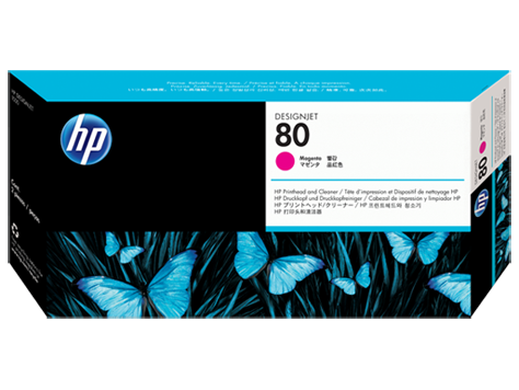 HP No.80 Magenta Printhead and Printhead Cleaner
