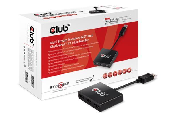 Club3D Multi Stream Transport (MST) Hub DisplayPort™ 1.2 Triple Monitor