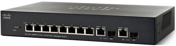 CISCO SF302-08MPP 8-port 10/100 Max PoE+ Managed Switch