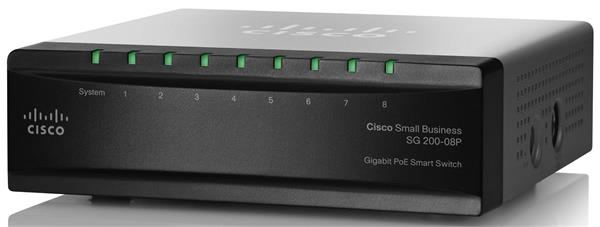 CISCO SG 200-08P 8-port Gigabit PoE Smart Switch