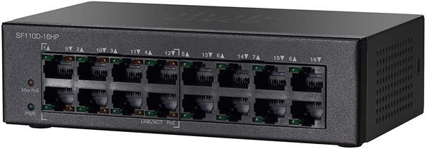CISCO SF110D-16HP 16-Port 10/100 PoE Desktop Switch