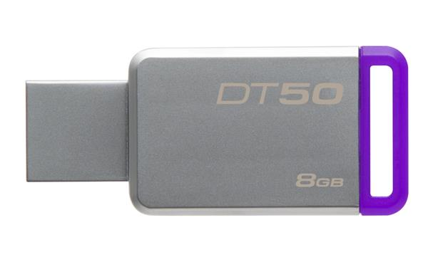 8 GB . USB 3.0 klúč . Kingston DataTraveler 50 (Metal/Purple)