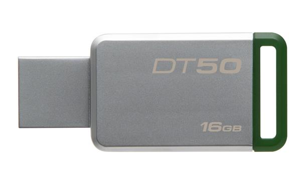 16 GB . USB 3.0 klúč . Kingston DataTraveler 50 (Metal/Green)