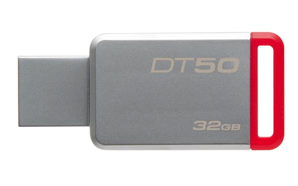 32 GB . USB 3.0 klúč . Kingston DataTraveler 50 (Metal/Red)