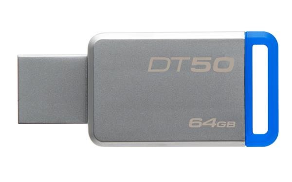 64 GB . USB 3.0 klúč . Kingston DataTraveler 50 (Metal/Blue)