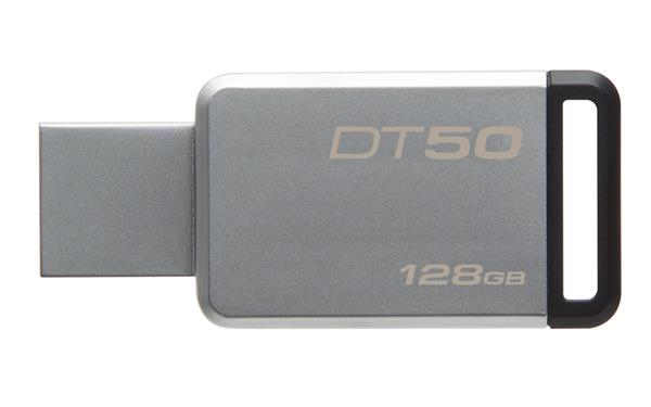 128 GB . USB 3.0 klúč . Kingston DataTraveler 50 (Metal/Black)
