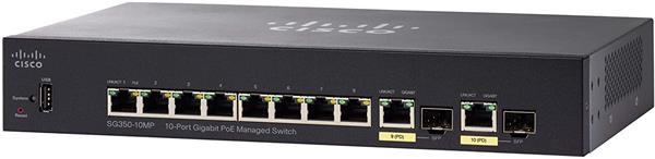 Cisco SG350-10MP 10-port Gigabit POE Managed Switch