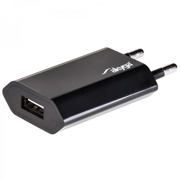 Akyga USB charger AK-CH-03BK 240V 1000mA 1xUSB black