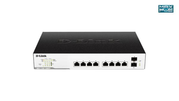 D-Link DGS-1100-10MPP 8-Port 1Gb EasySmart Switch, 2x SFP, PoE