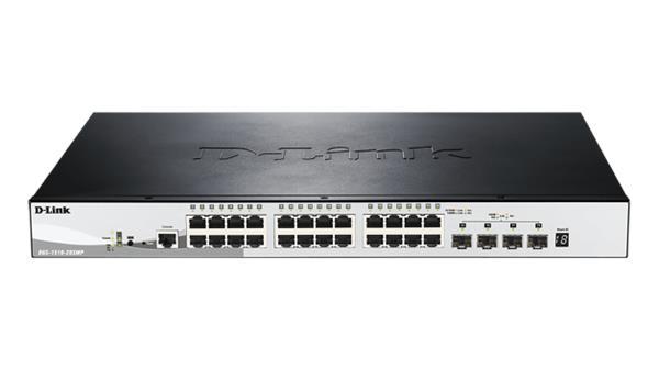 D-Link DGS-1510-28XMP 28-Port 1Gb Stackable Smart switch, 4x 10G SFP+, PoE