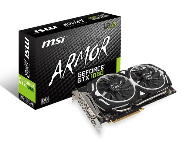 MSI GeForce GTX 1060 ARMOR 6G OCV1, 6G GDDR5, 3x DP, HDMI, DVI