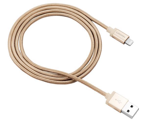 Canyon CNS-MFIC3GO, 1m prémiový opletený kábel Lightning/USB, MFI schválený Apple, zlatý