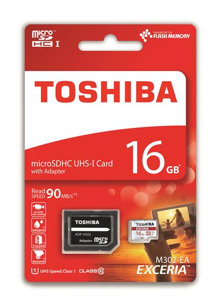 16 GB . microSDHC karta Toshiba EXCERIA Class 10 UHS + adaptér