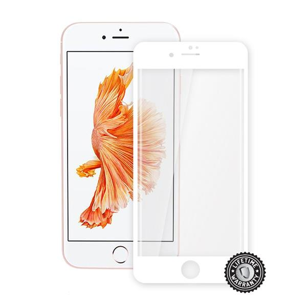 ScreenShield Apple iPhone 7 Tempered Glass protection display (full COVER WHITE metalic frame) - Biely