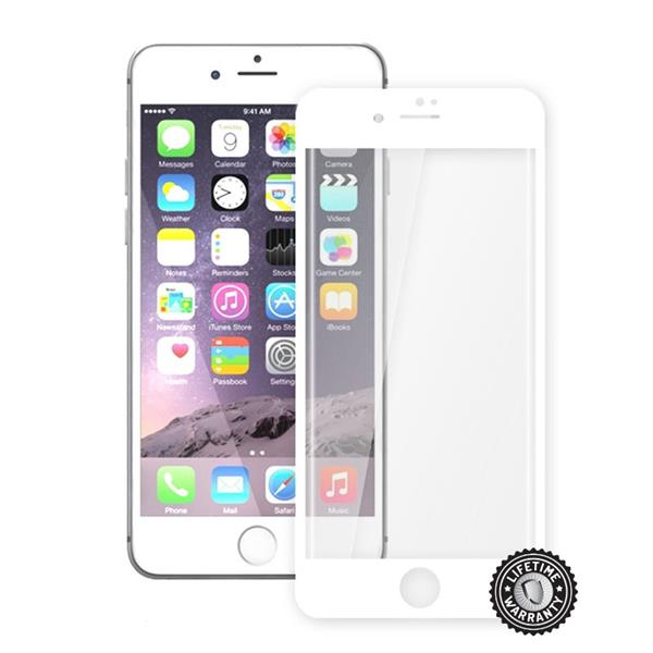 ScreenShield Apple iPhone 7 Plus Tempered Glass protection display (full COVER WHITE metalic frame) - biely