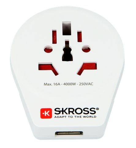 SKROSS cestovný adaptér Europe USB pre cudzincov v SR, vč. 1x USB 2100mA
