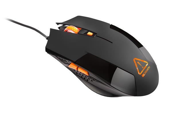 Canyon Vigil CND-SGM2 hráčska myš, drôtová, optická, 800/1200/1600/2400 dpi, 6 program. tlač, LED podsv., čierna