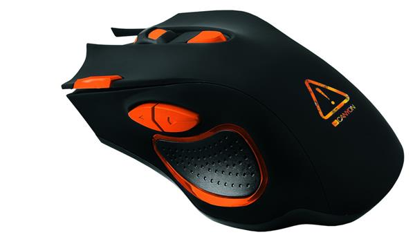 Canyon CND-SGM5N Corax, hráčska myš, drôtová, optická, 800/1600/2400/4800/6400 dpi, 7 program. tlač, LED podsv., čierna