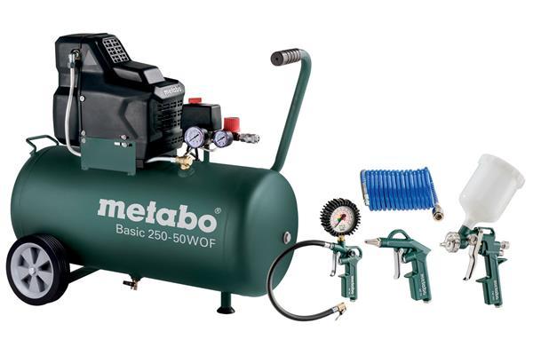 Metabo Set Basic 250-50 W OF + LPZ 4, Sada Olejový kompresor + 4-dielna sada vzduchového náradia