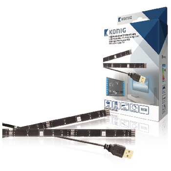 König USB TV náladové osvetlenie, stmievateľné, 2x 50 cm, RGB