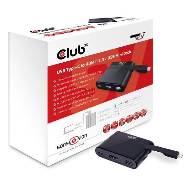 Club3D MINI USB-C Smart Docking Station (HDMI+USB2.0+USB-C Charger )