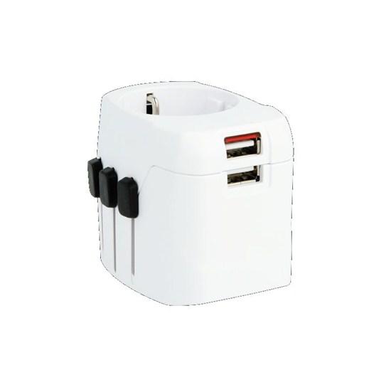 SKROSS cestovný adaptér PRO Light USB, 6.3A max., vr. USB nabíjania, uzemnený, UK+USA+Austrálie/Čína