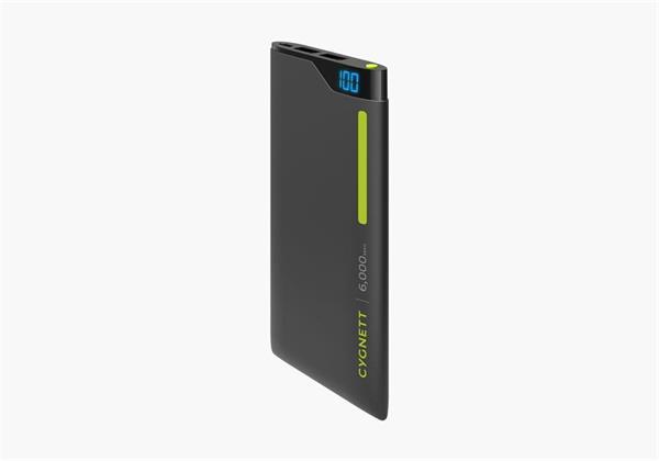 Cygnett ChargeUp Polymer Digital Powerbank 6.000mAh, dual USB/2.1A, pre smartfóny a tablety, čierno-zelená