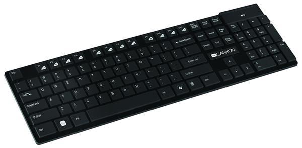 Canyon CNS-HKBW2-SK, Wireless bezdrôtová klávesnica, štíhla multimediálna, 105 kláves/12 hot keys, SK klávesy, čierna