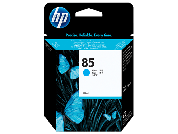 HP No. 85 Cyan Ink Cartridge, 28ml