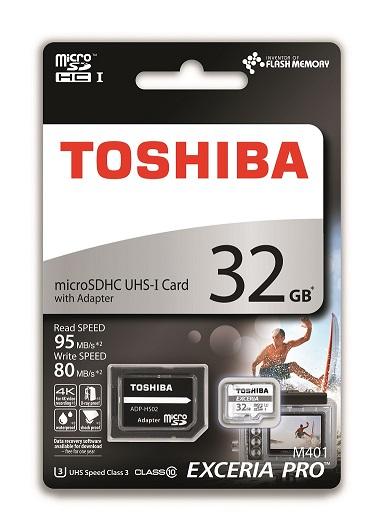 32 GB . microSDHC karta Toshiba EXCERIA PRO UHS I U3 + adaptér